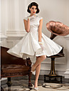 A-line / Princess Petite / Plus Sizes Wedding Dress - Ivory Knee-length Jewel Satin