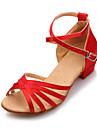 Damă Latin Imitație de Piele Sandale Profesional Cataramă Toc Jos Bronzat Negru Roșu Albastru regal NePersonalizabili