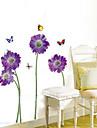 1PCS Colorful Butterflies over Flowers Enviromental Wall Sticker