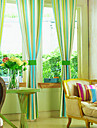 Country Two Panels Stripe Green Bedroom Poly  Cotton Blend Panel Curtains Drapes
