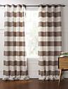 deux panneaux moderne bande rideaux du panneau de coton brun chambre rideaux