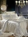 Xanlenss 4-Piece Beige Jacquard Cotton Duvet Cover Set