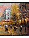 Perechi Peisaj Street Încadrată pictură în ulei