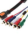 HDMI till 5 RCA 5RCA adapter AV-kabel (Svart, 1,5 M)