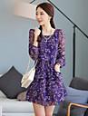 Cool Kvinnors Floral Print långärmad tight Skinny chiffongklänning