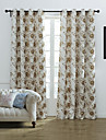 (Two Panels) Graceful Floral Country Jacquard Room Darkening Curtain