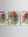 olieverfschilderij abstracte kleurrijke schilderij met gestrekte kader set van 3 met de hand beschilderd doek