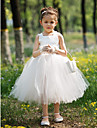 Ball Gown Tea-length Flower Girl Dress - Satin / Tulle Sleeveless