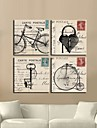 Stretched Canvas Art Retro Bicycle And Keys Set of 4