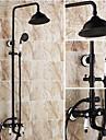 Antique Systeme de douche Douche pluie Douchette inclue with  Valve en ceramique Deux poignees trois trous for  Bronze huile , Robinet de