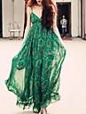 Chiffon / Swing Vestito Da donna-Spiaggia / Vacanze Boho Con stampe Con bretelline Maxi Senza maniche Verde Poliestere Estate A vita alta