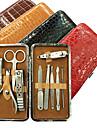 10ST nagel Clippers Manikyr Kit Inom Alligator Grain Manicure Leather Bag (Random färg)
