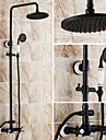 Antique Tub And Shower Rain Shower / Handshower Included with  Ceramic Valve Two Handles Three Holes for  Oil-rubbed Bronze , Shower