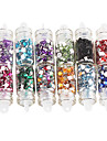 12PCS Glaserat 12-Color Square Rhinestone Nail Art Dekorationer