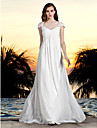 Sheath/Column Plus Sizes Wedding Dress - Ivory Floor-length Bateau Tulle/Georgette