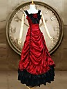 Red O-neck Sleeveless Gothic Classic Satin Victorian Dress