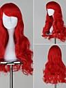 La Sirenita Ariel largo ondulado Red Anime Cosplay peluca