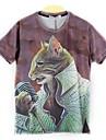 Mäns Europe Fashion korta ärmar Print 3D Katter T-shirts