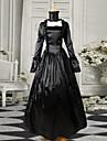 Svart Långärmat Satin gotisk Victorian Dress