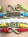 Vintage și colorat cu scrisori de dragoste cel mai bun prieten Handmade țesute brățară