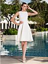 Lanting Bride® A-라인 / 공주 퍼티트 / 플러스 사이즈 웨딩 드레스 - 클래식&타임레스 / 피로연 드레스 어깨 노출 스타일 무릎 길이 스쿱 쉬폰 와