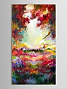 Hand Painted Oil Painting Abstract Spring Hillside Scenery with Stretched Frame