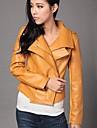 Women\'s Double Lapel PU Leather Jacket Coat