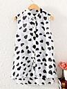 Women\'s Print White/Black Blouse , Shirt Collar Sleeveless