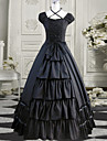 Elegant Goddess Short Sleeve Floor-length Black Cotton Classic Lolita Dress