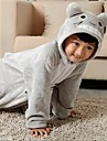 kigurumi Pyjamas Totoro / Chat Collant/Combinaison Fete / Celebration Pyjamas Animale Halloween Gris Couleur Pleine Flanelle Kigurumi Pour