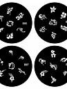 1st nail art stämpel stämpling bildmall platta B-serien No.85-88 (diverse mönster)