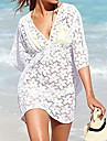 Női elegáns szexi mély V White Hollow-out Kintwear Beach Coat