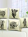 conjunto de 5 elegante animais algodao cool / linho capa almofadas decorativas