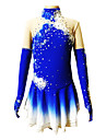 Robe de Patinage Femme / Fille Manches longues Patinage Jupes & Robes Robe de patinage artistique Respirable / Elastique Spandex Bleu