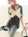 Femei pulover de moda de culoare V Collar Loose pulover