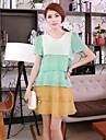 Women\'S Slim Stitching Chiffon Dress