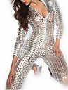 fille chaude metallique brillant robe en cuir creux uniforme sexy