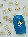 200pcs design unique coeur creux en metal dore decoration art tranche de l\'ongle