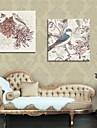 art de toile tendue fleurs de peinture decorative et les oiseaux ensemble de 2