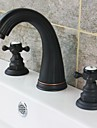 Traditional Style Oil-rubbed Bronze Finish Two Handles Three Holes  Bathroom Sink Faucet
