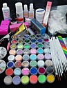 90PCS Glitter UV Gel Cleanser Primer Nail Art Kit Set
