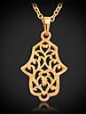 U7 millesime chanceux Pendentif hamsa main collier plaque or 18k platine pour les femmes de haute qualite