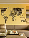 Wall Stickers Wall Decals, English World Map PVC Wall Stickers