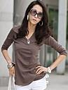 Ženska V izrez dugih rukava jednobojnu pamučne bluze