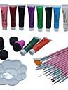 29pcs kits de pinceau de peinture 2 voies stylo ongles rose art qui parsement les outils mis
