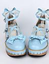 handgjorda pu läder 5 cm kil Sweet Lolita skor med rosett