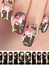 12PCS Rose Pattern Black Watermark Nail Art Stickers C2-002