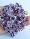 Women\'s Trendy Alloy Silver-tone Purple Rhinestone Crystal Flower Brooch Pin