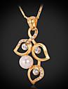 pendentif plaque 18 carats de l\'or des femmes de luxe en cristal perle perle bijoux en strass