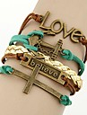 European Style Retro Metal Love Cross Anchors Simple Hand-woven Bracelets